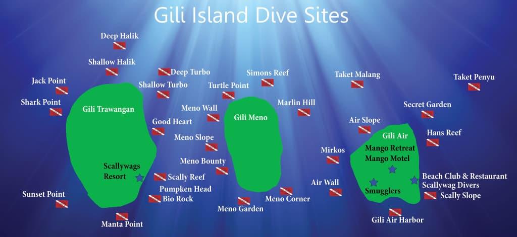 Карта интересных подводных спотов вокруг островов Гили